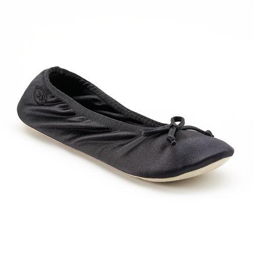 isotoner Women's Satin Ballerina Slippers