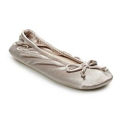 isotoner Women's Satin Ballerina Slippers