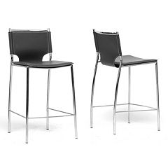 Baxton Studio 2-Piece Montclare Leather Modern Counter Stool Set