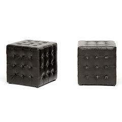 Baxton Studio 2 pc Siskal Modern Cube Ottoman Set