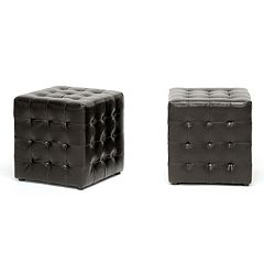 Baxton Studio 2-Piece Siskal Modern Cube Ottoman Set