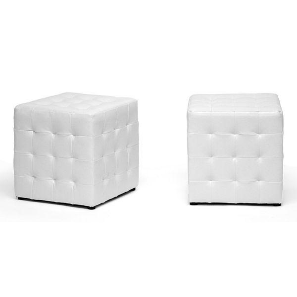 Baxton Studio 2-Piece Siskal Modern Cube Ottoman Set White daTwf