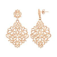 18k Rose Gold Over Silver Floral Filigree Drop Earrings