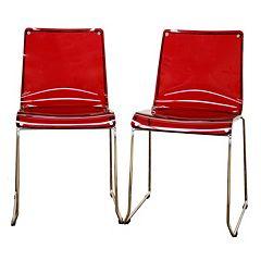 Baxton Studio 2-Piece Lino Transparent Dining Chair Set
