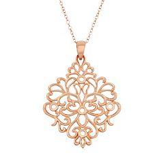 18k Rose Gold Over Silver Floral Filigree Pendant Necklace