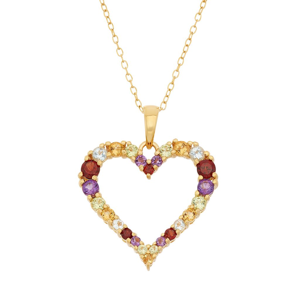 Gemstone 18k Gold Over Silver Heart Pendant Necklace