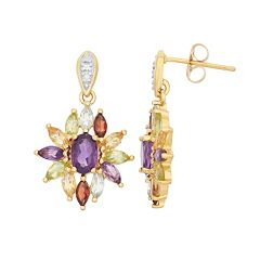 Gemstone 18k Gold Over Silver Flower Earrings
