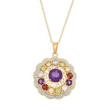 Gemstone 18k Gold Over Silver Flower & Greek Key Pendant Necklace