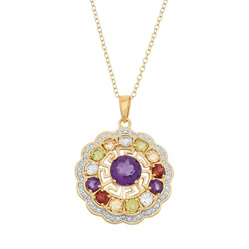 Gemstone 18k Gold Over Silver Flower & Greek Key Pendant Necklace