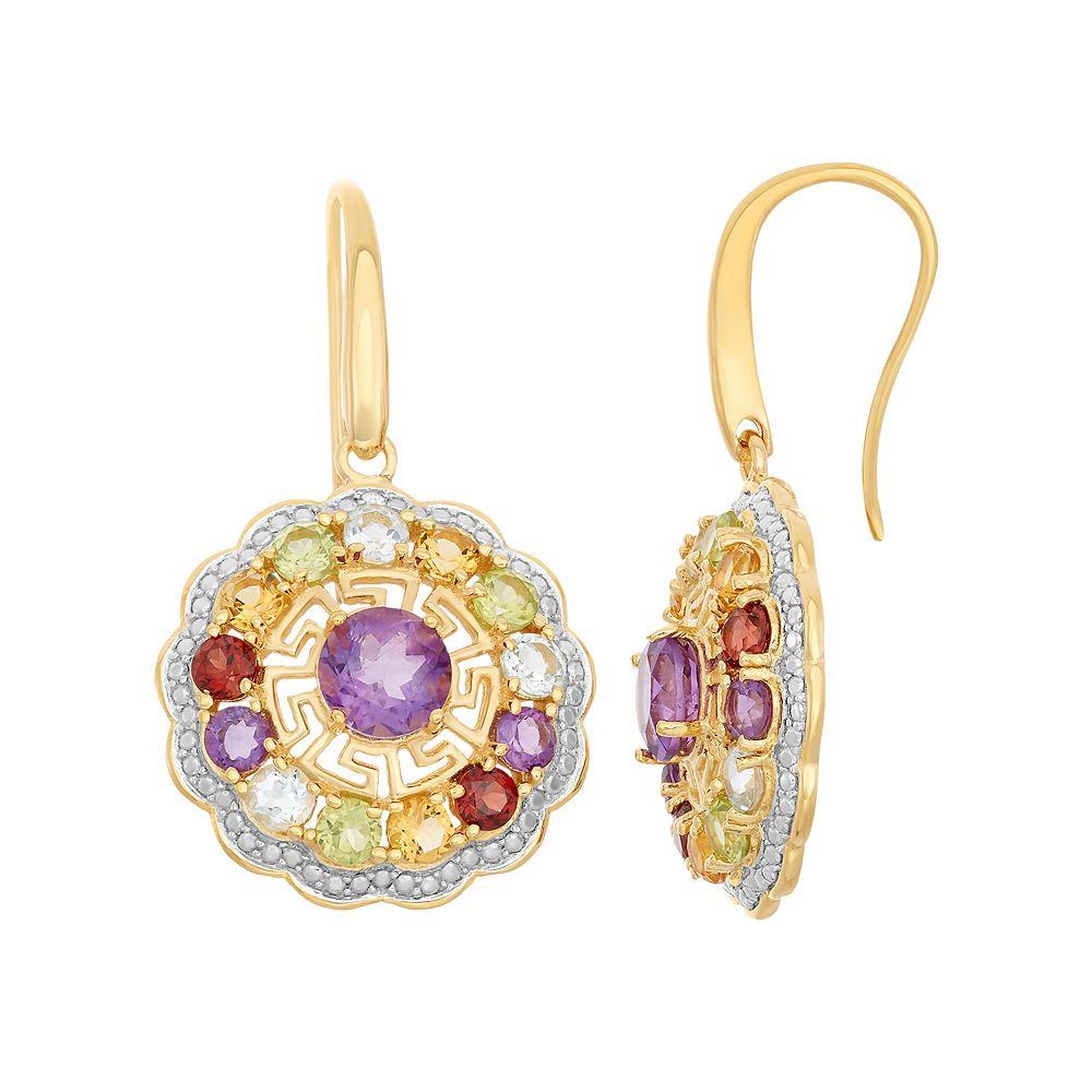 Gemstone 18k Gold Over Silver Flower & Greek Key Earrings