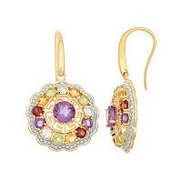 Gemstone 18k Gold Over Silver Flower & Greek Key Earrings