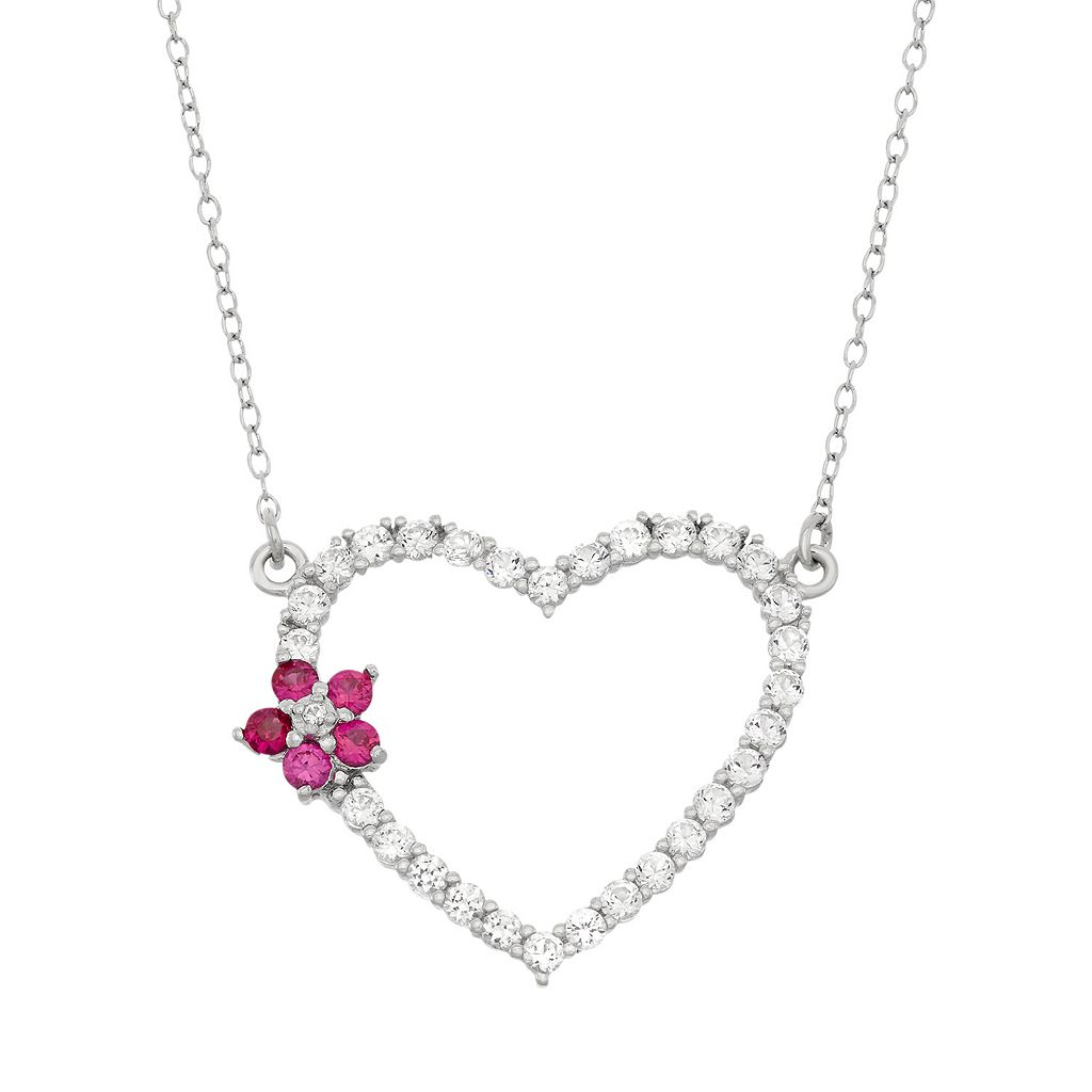Lab-Created White Sapphire & Lab-Created Ruby Sterling Silver Flower & Heart Necklace