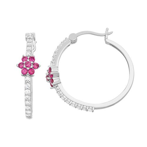 Lab-Created White Sapphire & Lab-Created Ruby Sterling Silver Flower Hoop Earrings