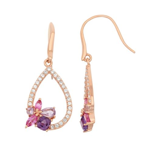 Gemstone 18k Rose Gold Over Silver Cluster Teardrop Earrings