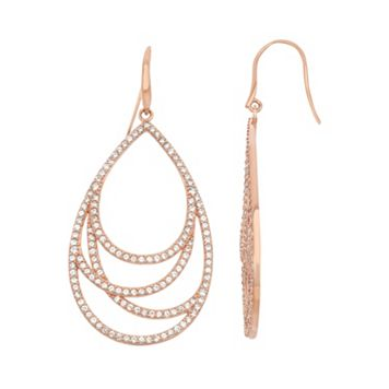 Lab-Created White Sapphire 18k Rose Gold Over Silver Teardrop Earrings
