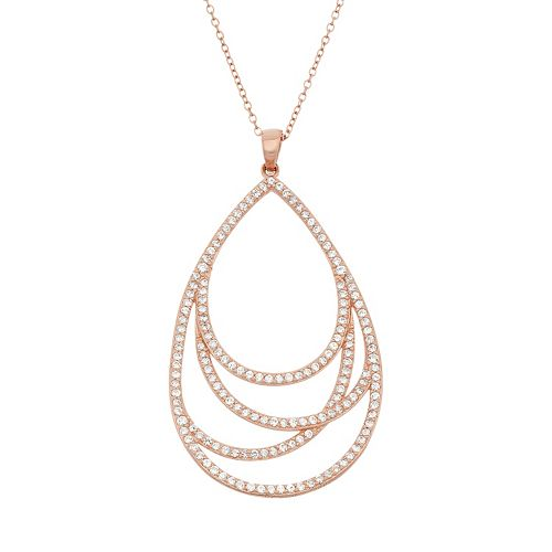 Lab-Created White Sapphire 18k Rose Gold Over Silver Teardrop Pendant Necklace