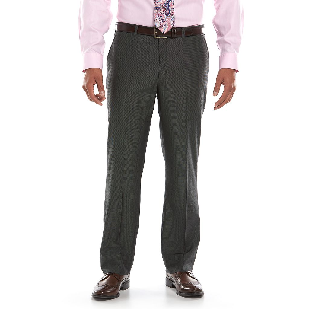 Men's Apt. 9 Slim-Fit Black Pindot Flat-Front Suit Pants