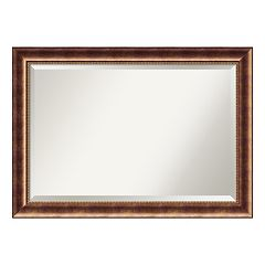 Manhattan Large Bronze Finish Traditional Wood Wall Mirror