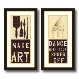 """""""Dance and Make Art"""" 2-piece Framed Wall Art Set"""
