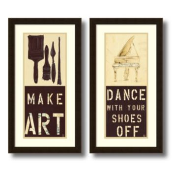 """Dance and Make Art"" 2-piece Framed Wall Art Set"