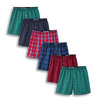 Men's Fruit of the Loom Signature 5-pack + 1 Bonus Tartan-Plaid Boxers