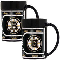 Boston Bruins 2 pc Ceramic Mug Set with Metallic Wrap