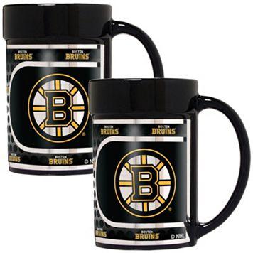 Boston Bruins 2-Piece Ceramic Mug Set with Metallic Wrap