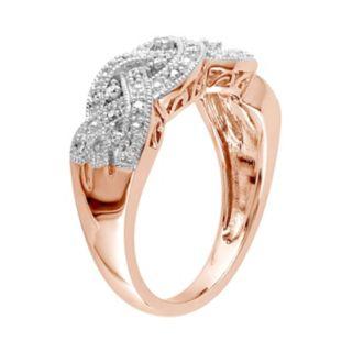 Stella Grace 1/8 Carat T.W. Diamond Rhodium-Plated Sterling Silver Scalloped Woven Ring