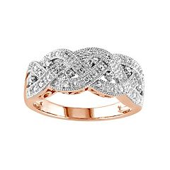 Stella Grace 1/8 Carat T.W. Diamond Rhodium-Plated Sterling Silver Scalloped Woven Ring