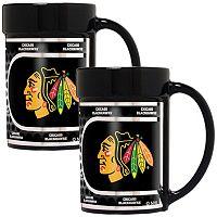 Chicago Blackhawks 2 pc Ceramic Mug Set with Metallic Wrap