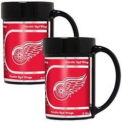 Detroit Red Wings 2 pc Ceramic Mug Set with Metallic Wrap