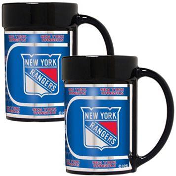 New York Rangers 2-Piece Ceramic Mug Set with Metallic Wrap