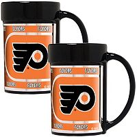 Philadelphia Flyers 2 pc Ceramic Mug Set with Metallic Wrap