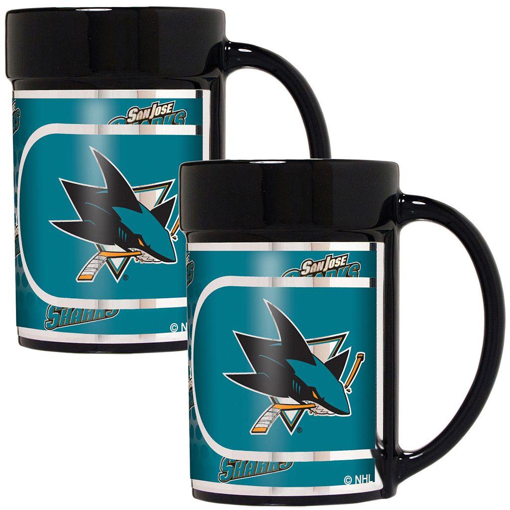 San Jose Sharks 2-Piece Ceramic Mug Set with Metallic Wrap