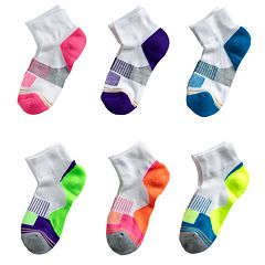 Girls 7-11 GOLDTOE 6-pk. Colorblock 1/4-Crew Socks