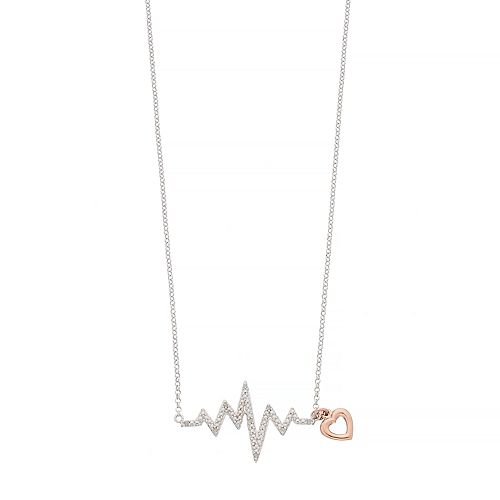 Two Tone Sterling Silver Diamond Accent Heartbeat Necklace
