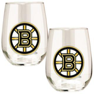 Boston Bruins Stemless Wine Glass Set