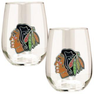 Chicago Blackhawks Stemless Wine Glass Set
