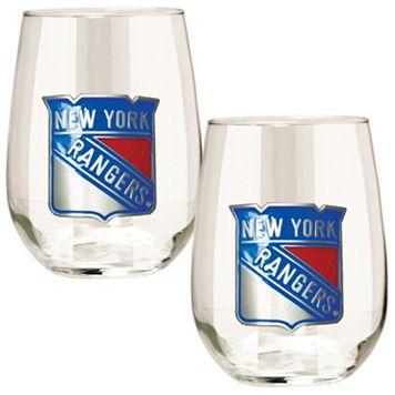 New York Rangers Stemless Wine Glass Set