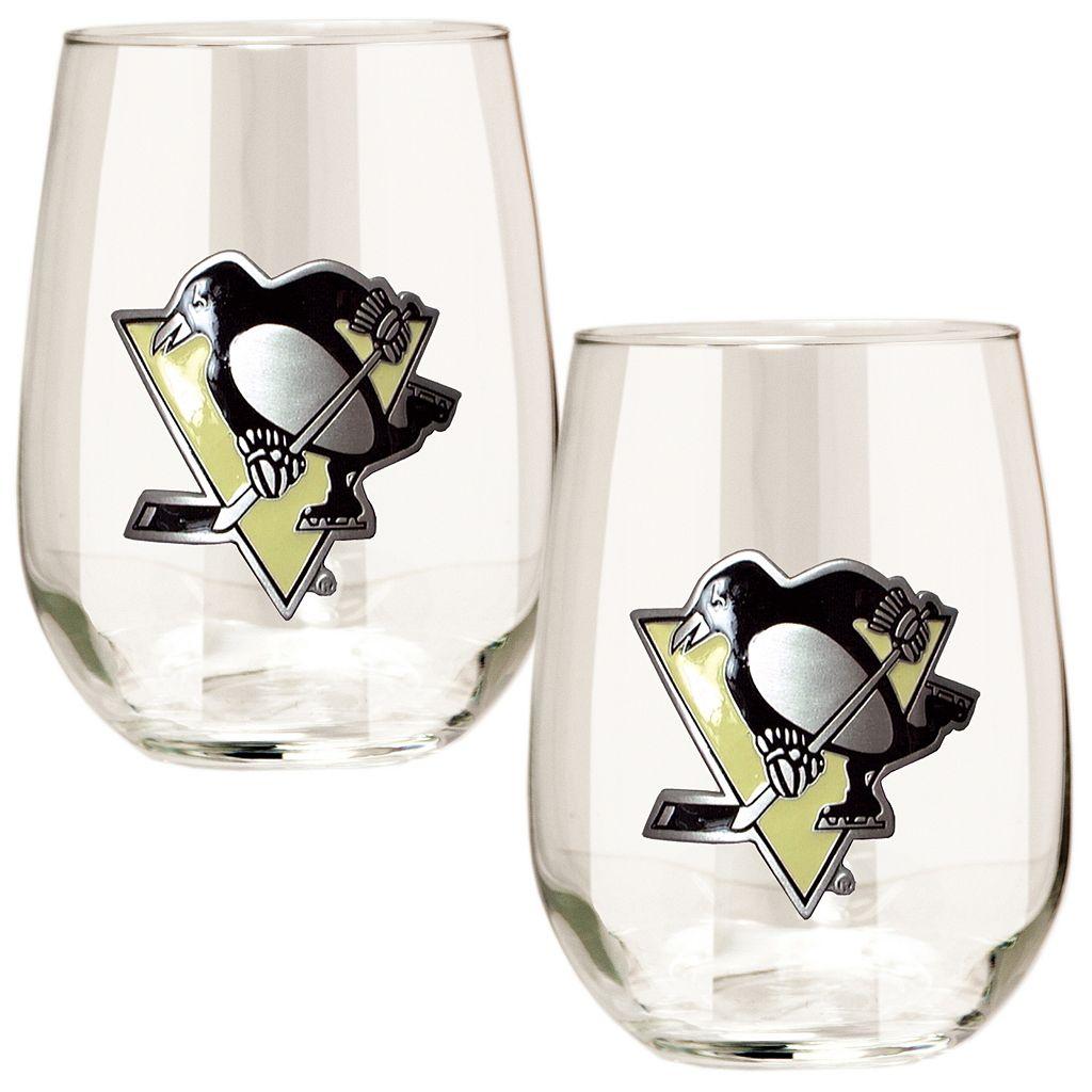 Pittsburgh Penguins Stemless Wine Glass Set