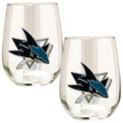 San Jose Sharks Stemless Wine Glass Set