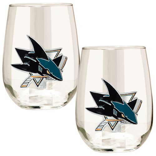 San Jose Sharks Stemless Wine Glass Set