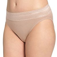 Warner's No Pinching. No Problems. Lace-Trim Cotton Hi-Cut Panty - Women's
