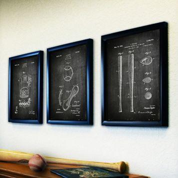 ''Baseball'' 3-piece Framed Wall Art Set