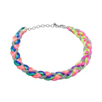 Silver-Plated Mesh & Cord Neon Braided Bracelet