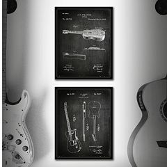 ''Guitar'' 2 pc Framed Wall Art Set
