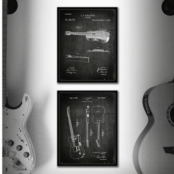 ''Guitar'' 2-piece Framed Wall Art Set