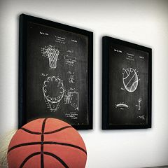''Basketball'' 2 pc Framed Wall Art Set