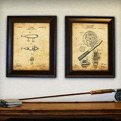 ''Fishing'' 2 pc Framed Wall Art Set