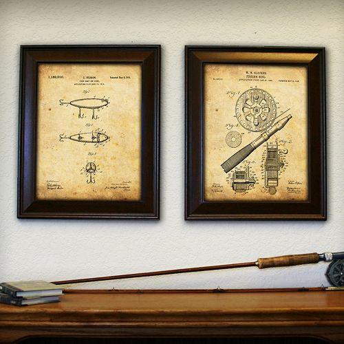 ''Fishing'' 2-piece Framed Wall Art Set